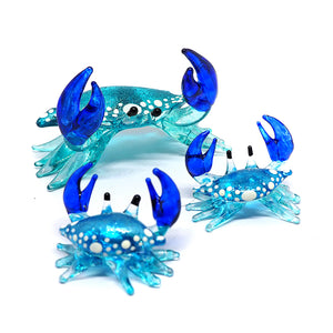 Glass Crab Figurine Light Blue Miniature Hand Blown  Set of 3