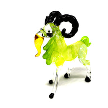Load image into Gallery viewer, Blown Glass Green Goat Curve Horn