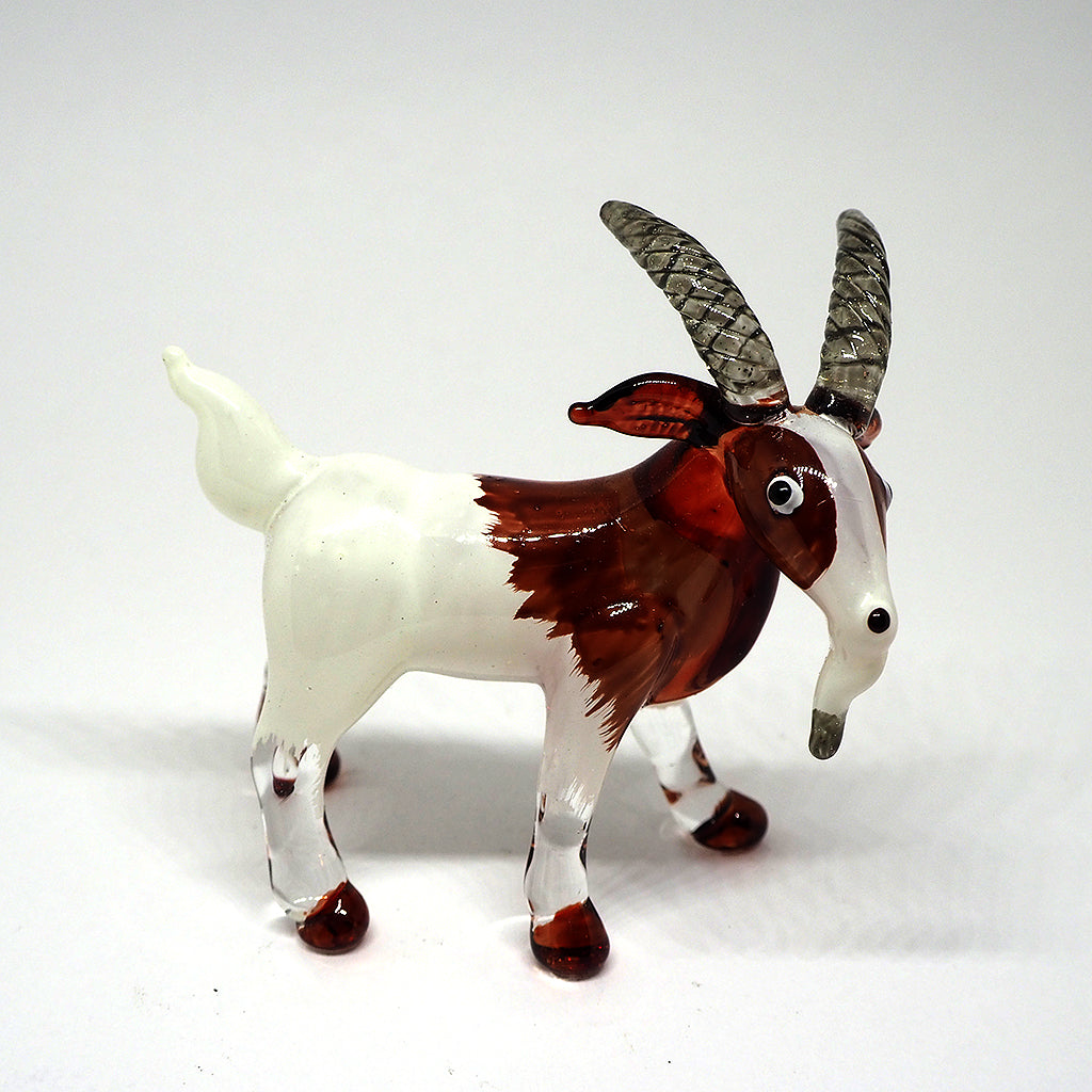 Blown Glass White Goat