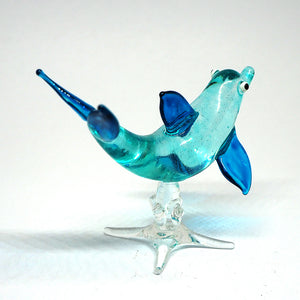 Blown Glass Dolphin Figurine Blue Miniatures Coastal Style Collectible Decor