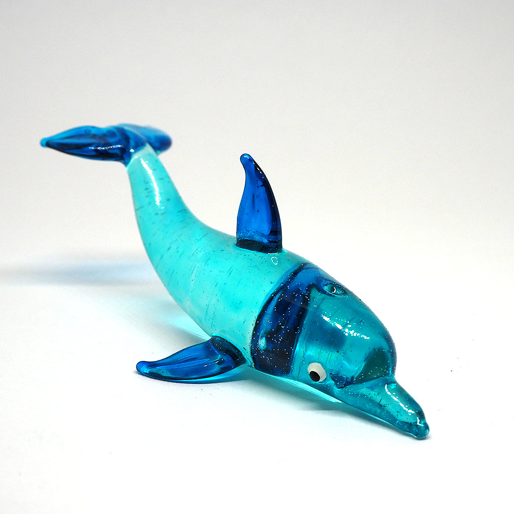 Blown Glass Dolphin Figurine Blue Miniatures Coastal Style