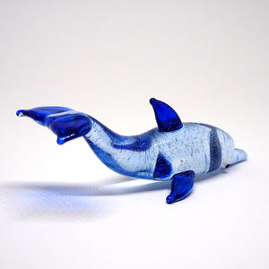 Blown Glass Dark Blue Dolphin Figurine