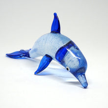 Load image into Gallery viewer, Blown Glass Dark Blue Curve Dolphin