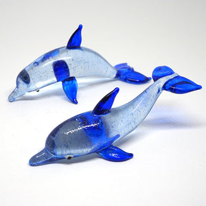 Blown Glass Couple Dark Blue Dolphin