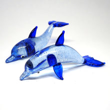Load image into Gallery viewer, Blown Glass Couple Dark Blue Dolphin
