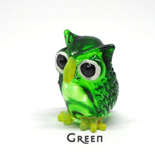Load image into Gallery viewer, Tiny Glass Owl Figurine Handmade Miniature Collectible