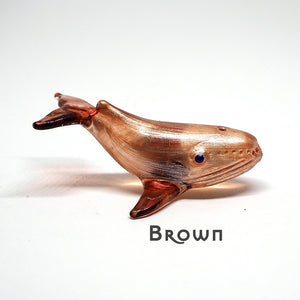Tiny Glass Whale Figurine Handmade Miniature Collectible