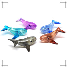 Load image into Gallery viewer, Tiny Glass Whale Figurine Handmade Miniature Collectible