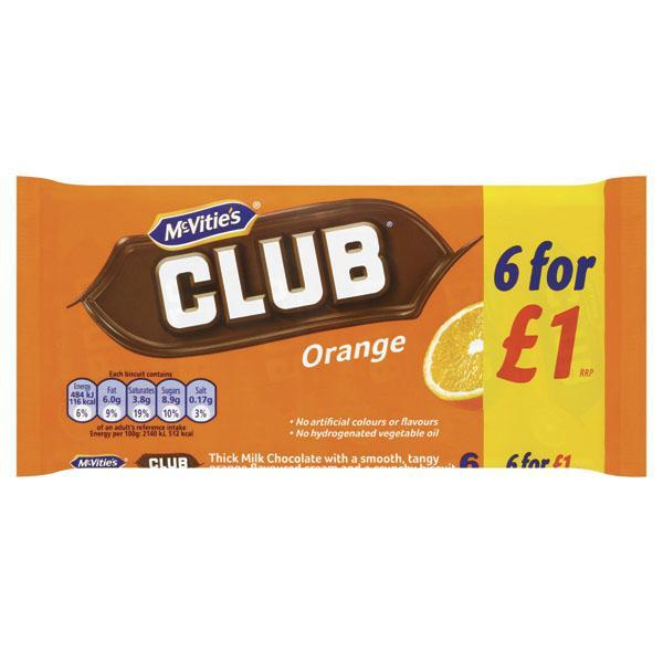 Mcvities Orange Club Pm1.00 6pk