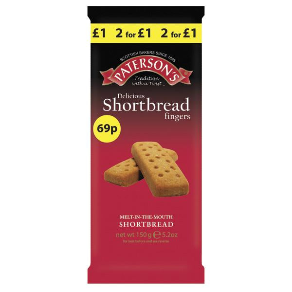 Paterson Shortbread Fingers Pm69p Or 2for1.00 150g