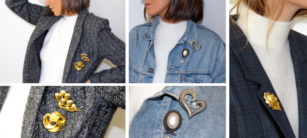 Assortments of vintage Miima Paris brooches worn over a stylish jacket or over a denim jacket