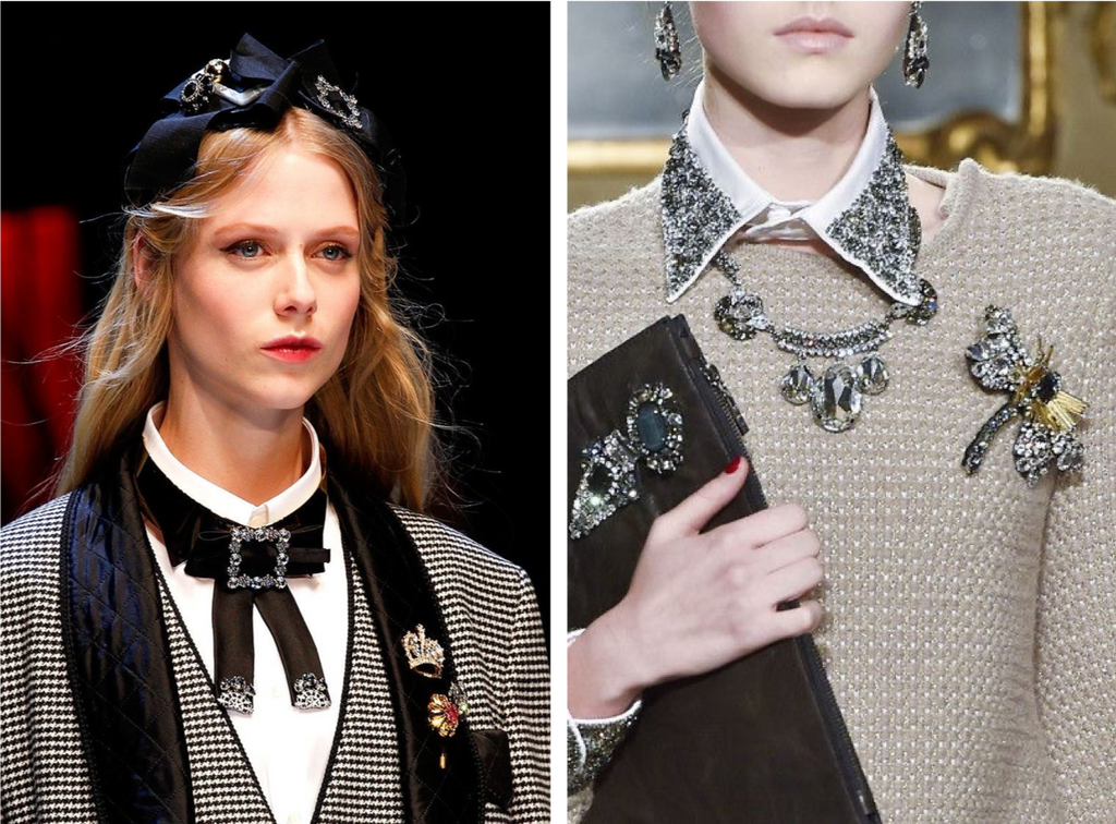 Brooches in fashion shows