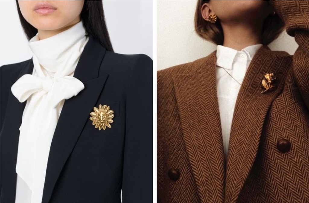 Inspi brooch only on the lapel of a chic jacket