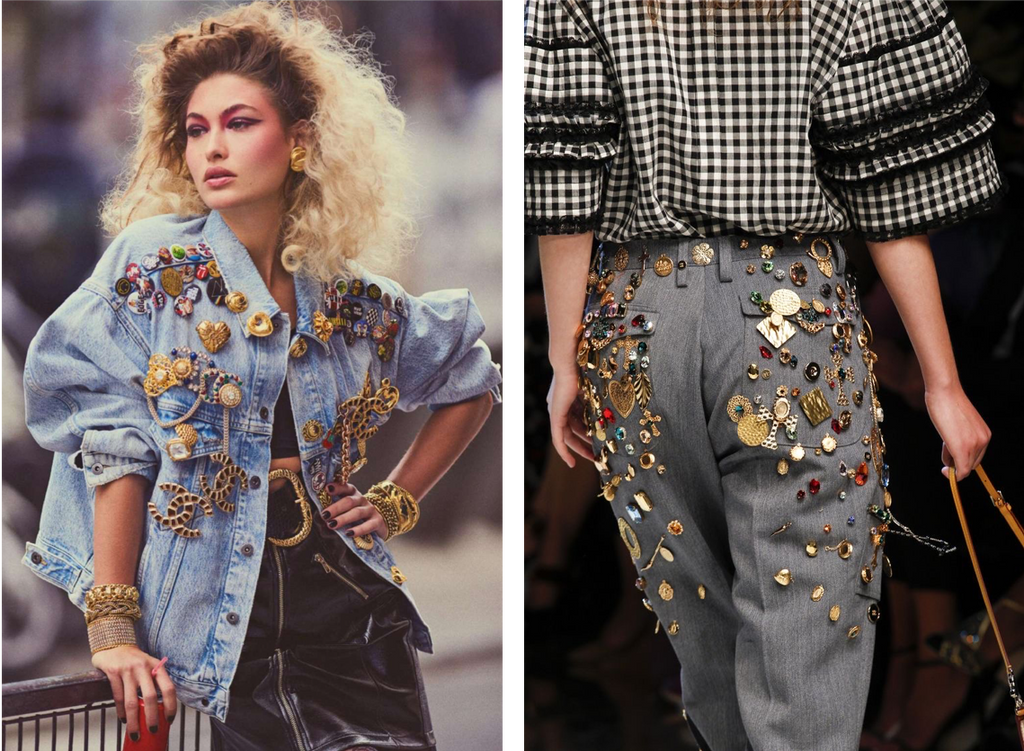 Stacking of vintage brooches worn over a denim jacket and worn over pants