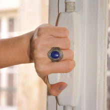 Load the image in the gallery, Silver cabochon ring midnight blue from GIGI PARIS