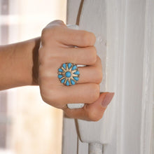 Load the image in the gallery, Flower ring with blue stones from GIGI PARIS