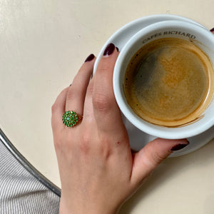 Gold-plated ring adorned with small green stones from GIGI PARIS