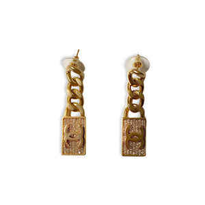 Chanel silver plate curb link earrings with faux diamonds by Gigi Paris