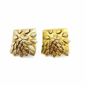 Delphine Nardin golden square earrings with accumulation of leaves from GIGI PARIS