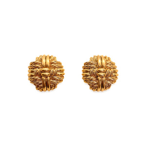 Gold round Orena earrings with strings from Gigi Paris