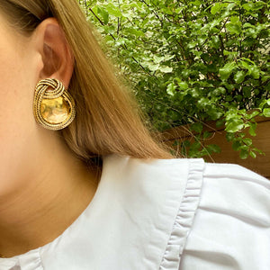 Sidney Carron golden oval earrings encircled with rope from GIGI PARIS
