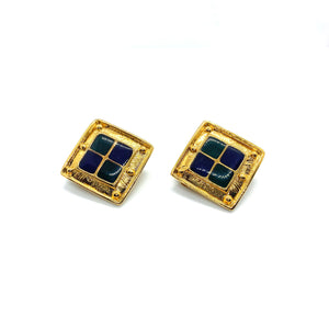 Vintage square green and blue earrings from GIGI PARIS
