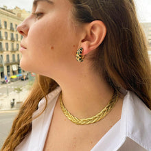 Load image into Gallery viewer, Golden hoop earrings with green stones and rhinestones