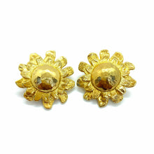Load the image in the gallery, Imposing hammered flower earrings from GIGI PARIS