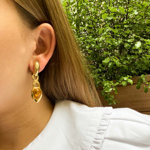 Golden dangling earrings with honey cabochon from GIGI PARIS