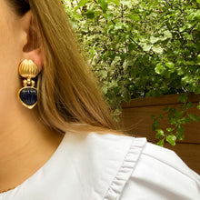 Load the image in the gallery, Dangling golden shell cabochon navy blue earrings from GIGI PARIS