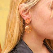 Load image into Gallery viewer, Vintage peach flowers leather effect dangling earrings from GIGI PARIS