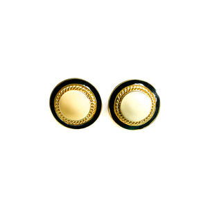 Black and cream round earrings