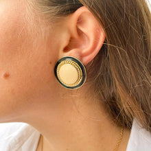 Upload image to gallery, Round black and cream earrings from Gigi Paris