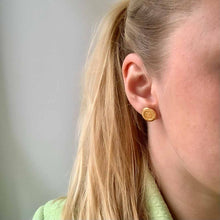 Load the image in the gallery, Upcycled Chanel golden earrings from Gigi Paris
