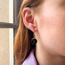 Load the image in the gallery, Upcycled YSL dangling black earrings