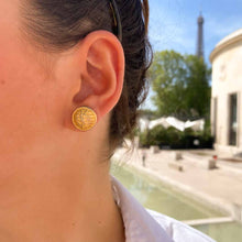 Load the image in the gallery, Upcycled Yves Saint Laurent gold earrings from GIGI PARIS