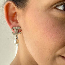 Load image into gallery, Chanel silver CC logo faux diamond earrings with white pearly dangling pearl from GIGI PARIS