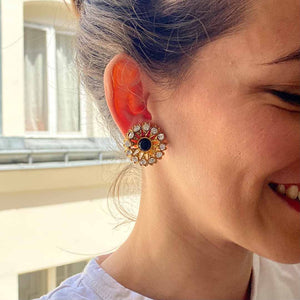Gripoix earrings for Chanel golden central pearl in glass paste and Swarovski crystals from GIGI PARIS
