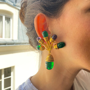 Imposing Gripoix earrings for Loewe gilded with 5 green and purple glass paste drops from GIGI PARIS