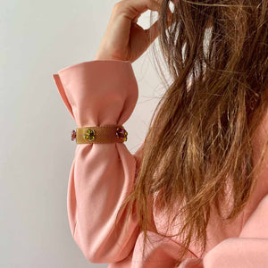 Gripoix bracelet for Chanel Haute Couture gold mesh watch with green and pink flowers in glass paste from GIGI PARIS