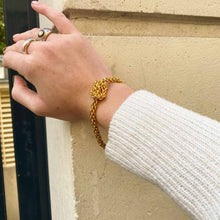 Load the image in the gallery, Royal knotted mesh bracelet with vintage TO clasp from GIGI PARIS