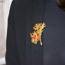Load the image in the gallery, Celine T Saxe flower brooch - Gigi Paris