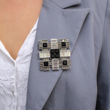 Load the image in the gallery, Chanel art deco black crystals brooch