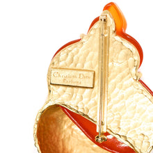 Load image into Gallery viewer, Gold and orange shell brooch Goossens for Christian Dior
