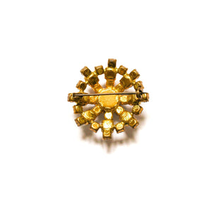 Golden brooch faux diamond and rhinestone abstract flower from GIGI PARIS