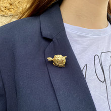 Load image into Gallery viewer, Golden tortoise brooch with circles on the shell of Gigi Paris