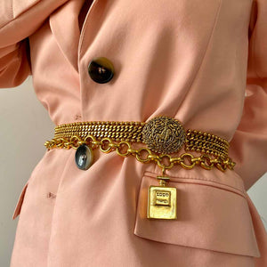 Chanel golden ball mesh and curb chain belt with patinated horse medallion from GIGI PARIS
