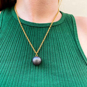 Upcycled Chanel anthracite gray domed necklace by GIGI PARIS