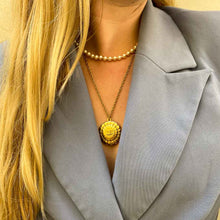 Load the image in the gallery, GIGI PARIS upcycled golden Chanel shell necklace