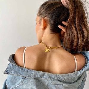 Chanel chocker gold plated hammered mat ethnic in arc of circle from GIGI PARIS